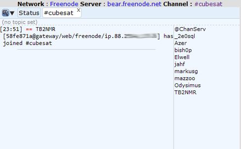 IRC görüşme ekranı.