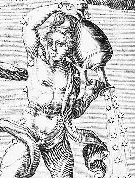 Resim-X. 1600 yılında Hugo Grotius, Aratos'un Gök Olayları yapıtını, Caesar Germanicus'un çevirisini temel alarak tekrar yayınladı. Oradan alınan Kova takım yıldızının görünümü.
