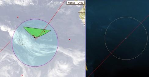 Resim-. Yansıma alanı ve uydunun anlık konumu.