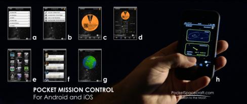 Şekil 2. Cep Görev Kontrolü size uzay aracı ile ilgili telemetri (d), onboard uygulamalar (e), training başarıları (f), yer istasyonu durumu (g), uzay aracının nerede olduğu (h) bilgilerini izlemeyi sağlayacak.