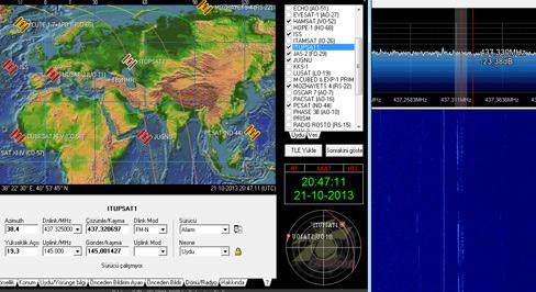 Resim- Karadeniz üzerinden uzaklaşmakta olan ITUpSAT-1 ve DVB-TSDR'de izlenen sinyali.